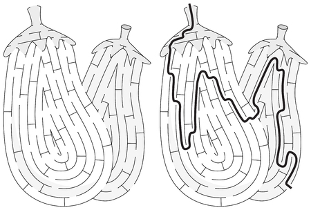 Aubergines maze for kids with a solution in black and white Иллюстрация