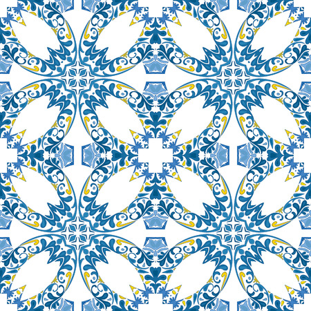 Seamless pattern illustration in traditional style - like Portuguese tiles Vetores