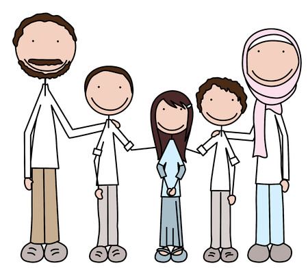Cartoon illustration of family of five
