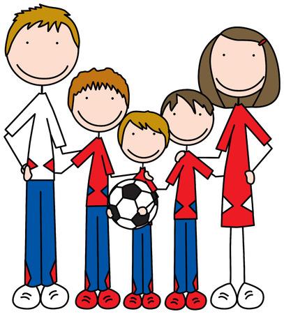 Ilustración de dibujos animados de una familia de cinco Ilustración de vector