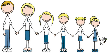 Cartoon illustration of family of six