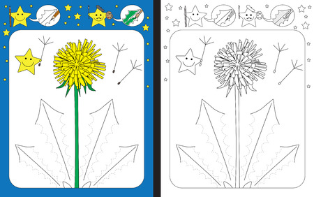 Preschool worksheet for practicing fine motor skills - tracing dashed lines of dandelion leaves