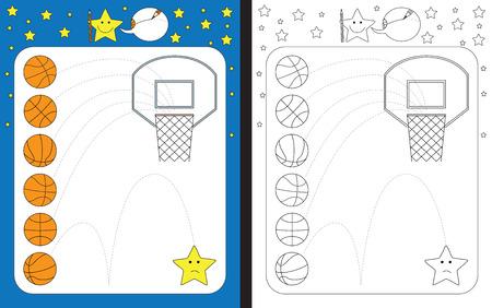 Hoja de trabajo preescolar para practicar las habilidades motoras finas: trazar líneas discontinuas desde la pelota hasta el aro de baloncesto Ilustración de vector