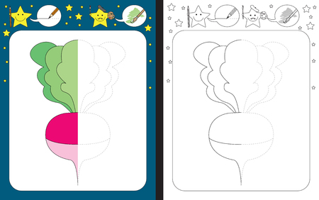 Preschool worksheet for practicing fine motor skills - tracing dashed lines - finish the illustration of a radish