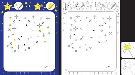 Hoja de trabajo preescolar para practicar habilidades motoras finas y reconocer números: conectando puntos por números y dibujando una varita mágica