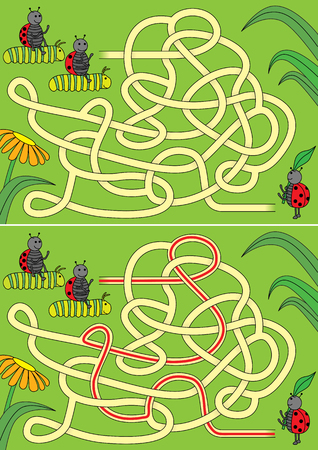 Ladybug and caterpillars race maze for kids with a solution Ilustração