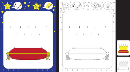 Preschool worksheet for practicing fine motor skills and recognising numbers - connecting dots by numbers to draw a crown Illusztráció