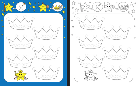 Preschool worksheet for practicing fine motor skills - tracing dashed lines of crowns
