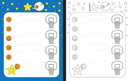 Hoja de trabajo preescolar para practicar habilidades motoras finas: trazar líneas discontinuas desde pelotas hasta aros