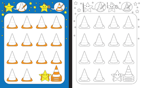 Preschool worksheet for practicing fine motor skills - tracing dashed lines of traffic cones Иллюстрация