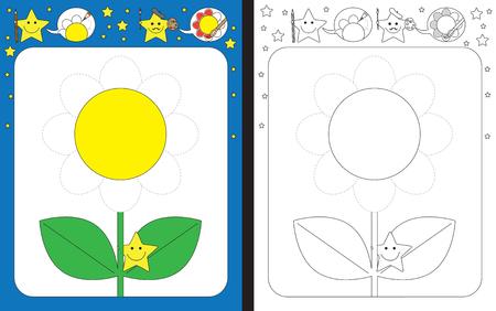 Feuille de travail préscolaire pour pratiquer la motricité fine - tracer des lignes pointillées de pétales de fleurs