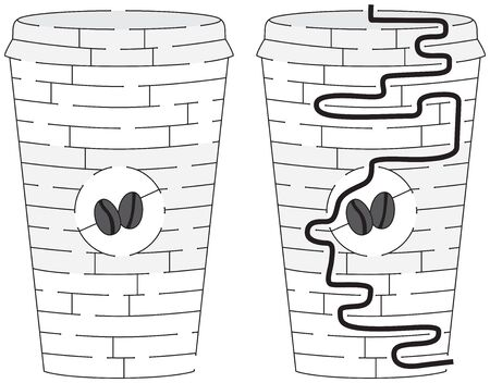 Paper coffee cup maze for kids with a solution in black and white