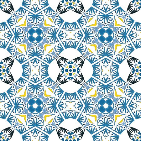 Seamless pattern illustration in traditional style - like Portuguese tiles 版權商用圖片 - 134806211