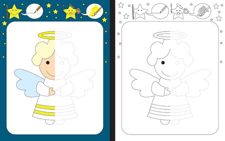 Preschool worksheet for practicing fine motor skills - tracing dashed lines - finish the illustration of a little angel Çizim
