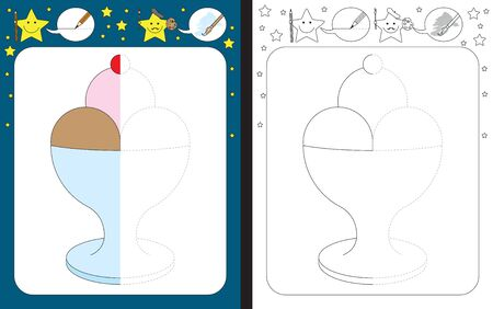 Preschool worksheet for practicing fine motor skills - tracing dashed lines - finish the illustration of an ice cream
