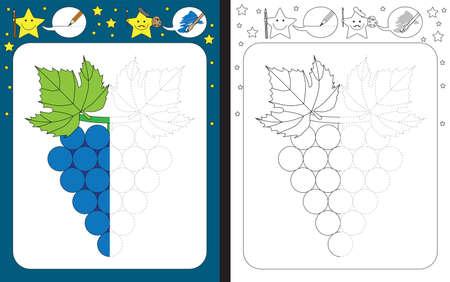 Feuille de travail préscolaire pour pratiquer la motricité fine - tracer des lignes pointillées - terminer l'illustration d'un raisin