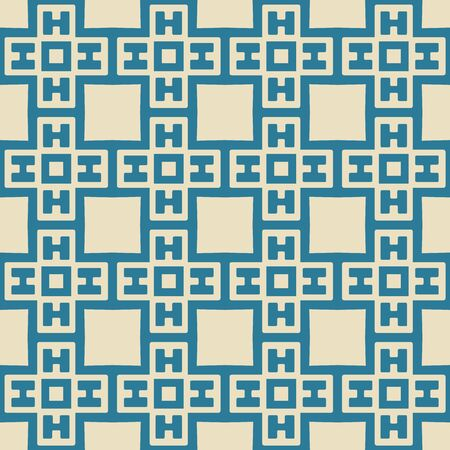 Seamless illustrated pattern made of abstract elements in beige and turquoise 向量圖像