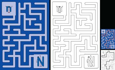 Easy alphabet maze for kids with a solution - worksheet for learning alphabet - recognizing letter N Illusztráció