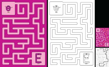 Easy alphabet maze for kids with a solution - worksheet for learning alphabet - recognizing letter E
