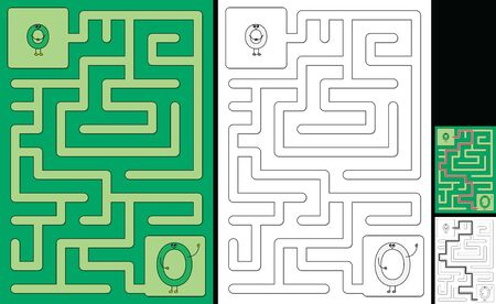 Easy alphabet maze for kids with a solution - worksheet for learning alphabet - recognizing letter O
