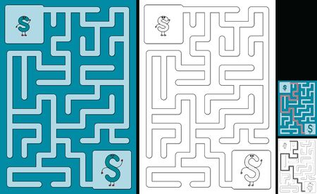 Easy alphabet maze for kids with a solution - worksheet for learning alphabet - recognizing letter S