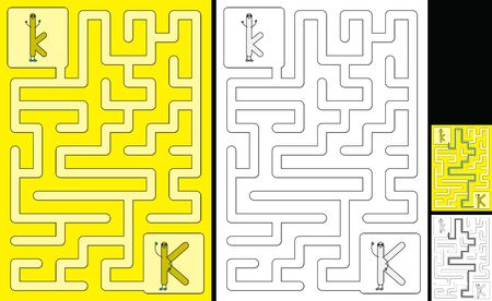 Easy alphabet maze for kids with a solution - worksheet for learning alphabet - recognizing letter K Çizim