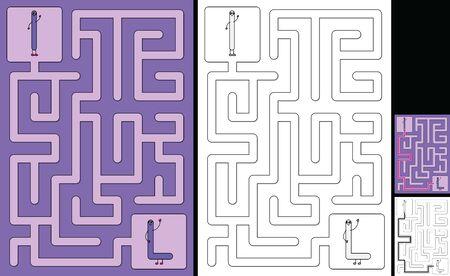 Easy alphabet maze for kids with a solution - worksheet for learning alphabet - recognizing letter L Illusztráció