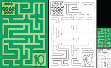 Easy number maze for kids with a solution - worksheet for learning numbers - recognizing number 10 Illusztráció