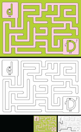 Easy alphabet maze for kids with a solution - worksheet for learning alphabet - recognizing letter D