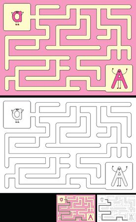 Easy alphabet maze for kids with a solution - worksheet for learning alphabet - recognizing letter A