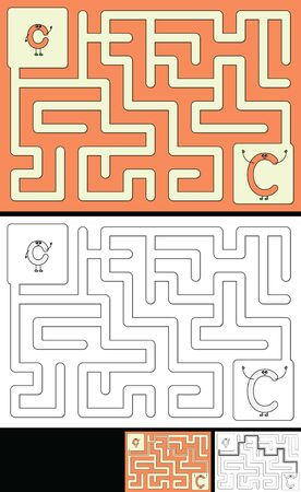 Easy alphabet maze for kids with a solution - worksheet for learning alphabet - recognizing letter C