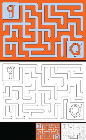 Easy alphabet maze for kids with a solution - worksheet for learning alphabet - recognizing letter Q