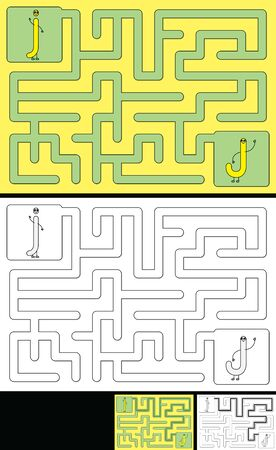 Easy alphabet maze for kids with a solution - worksheet for learning alphabet - recognizing letter J
