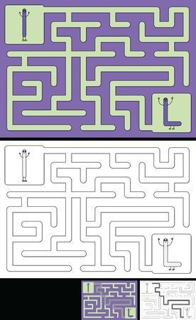 Easy alphabet maze for kids with a solution - worksheet for learning alphabet - recognizing letter L