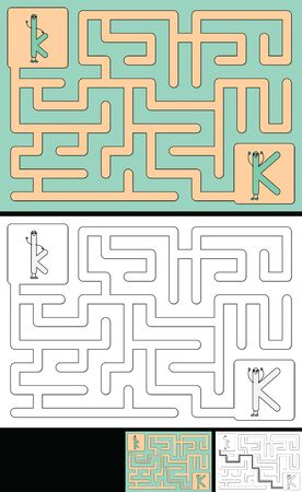 Easy alphabet maze for kids with a solution - worksheet for learning alphabet - recognizing letter K 向量圖像