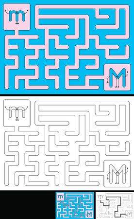 Easy alphabet maze for kids with a solution - worksheet for learning alphabet - recognizing letter M Ilustrace