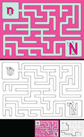 Easy alphabet maze for kids with a solution - worksheet for learning alphabet - recognizing letter N Ilustrace