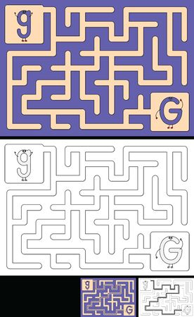 Easy alphabet maze for kids with a solution - worksheet for learning alphabet - recognizing letter G
