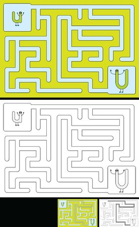 Easy alphabet maze for kids with a solution - worksheet for learning alphabet - recognizing letter U