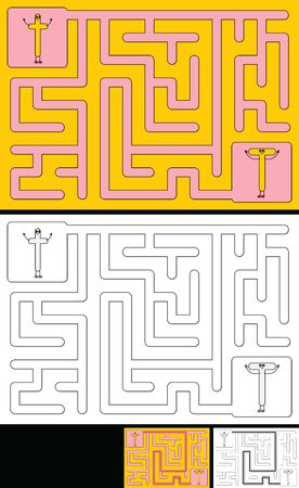 Easy alphabet maze for kids with a solution - worksheet for learning alphabet - recognizing letter T