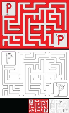 Easy alphabet maze for kids with a solution - worksheet for learning alphabet - recognizing letter P Ilustração