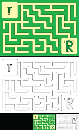Easy alphabet maze for kids with a solution - worksheet for learning alphabet - recognizing letter R 向量圖像
