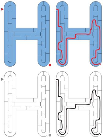 Easy alphabet maze for kids with a solution - worksheet for learning alphabet - recognizing letter H