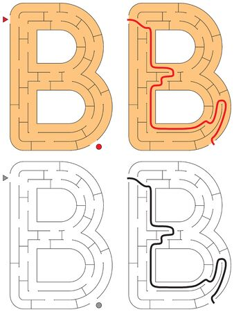 Easy alphabet maze for kids with a solution - worksheet for learning alphabet - recognizing letter B