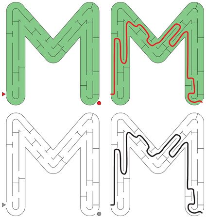 Easy alphabet maze for kids with a solution - worksheet for learning alphabet - recognizing letter M