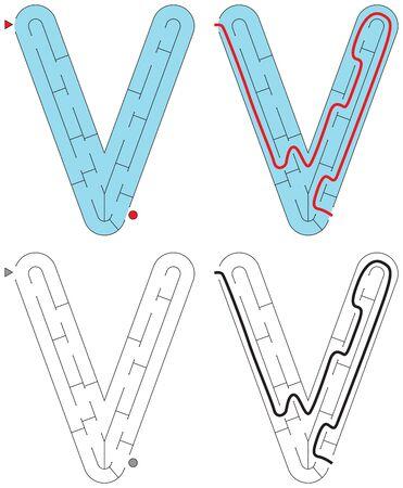 Easy alphabet maze for kids with a solution - worksheet for learning alphabet - recognizing letter V