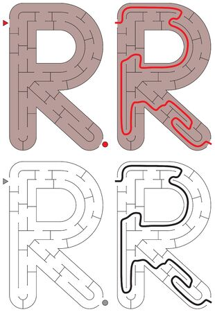 Easy alphabet maze for kids with a solution - worksheet for learning alphabet - recognizing letter R Stock Illustratie