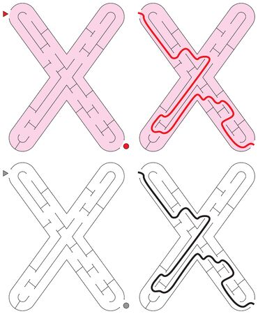 Easy alphabet maze for kids with a solution - worksheet for learning alphabet - recognizing letter X