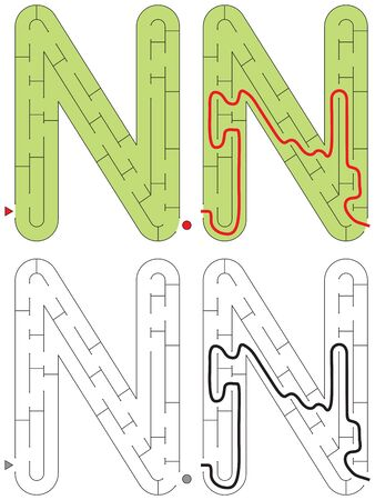 Easy alphabet maze for kids with a solution - worksheet for learning alphabet - recognizing letter N