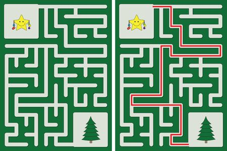 Easy little star decorating Christmas tree maze for kids with a solution